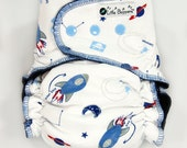 Cloth Diaper Large AI2 WindPro - Lg Wind Pro All in Two Nappy -Rocket Ships -  Washable Reusable - Outer Space - Planets - Spaceships