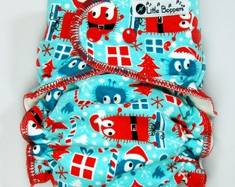 AI2 Cloth Diaper Made to Order - Christmas Diaper - Blue and Red Santa Ooga Booga - You Pick Size and Style - Christmas Gift for Baby Babies