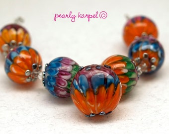 Lampwork  beads 6 18 mm colorful and metallic dots round lampwork beads and 1 21 mm button similar design SRA MTO