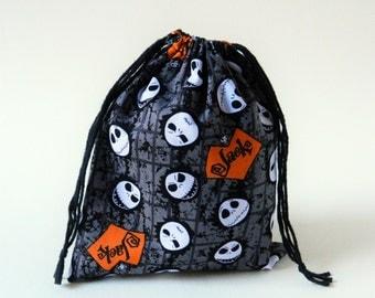 Skeleton Jack Drawstring bag, Nightmare before Christmas party favors bag, Halloween fabric bag, Jack Sckeleton oraganization fabric bag