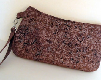 Fall Brown Coraline Wristlet/Clutch, Fairy Frost Brown Clutch Wristlet, Brown Clutch Wristlet, Everyday Wristlet, Day to Evening Clutch