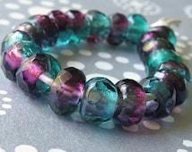 Amethyst Teal 12mm Czech Glass Roller Bead : 8 pc Green Purple Large Hole Bead