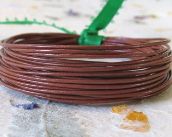 Round Leather .5mm Fine Cord  Light Brown : 15 Feet Brown Leather Cord