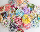 "Fabric Roses, Wedding Flowers, Cardmaking Scrapbooking Hair Bow 1"" Cupcake Toppers Wedding Favors Farmhouse Shabby Chic Florals Rolled Roses"