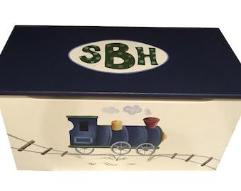 Childrens wooden toy box - Vintage Train