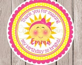 You are My Sunshine Birthday Party Favor Tags or Stickers / Pink and Yellow You Are My Sunshine Stickers or Tags / Set of 12