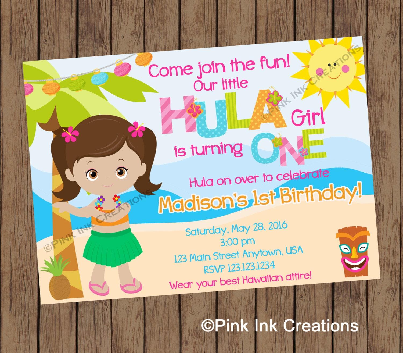 HULA GIRL Birthday Invitation / Hawaiian Birthday Invitation