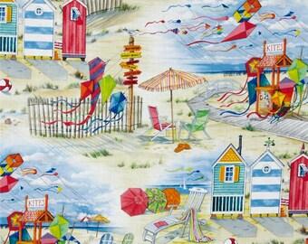 BEACH SCENE Fabric,  Yardage Fabric, nautical scene, kites, beach houses,  by the half or full yard, red, blue, yellow white sand,  cotton