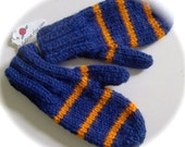 Mittens, Toddlers, Hand Knit, Navy and Orange, 1 to 2 years