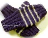 Ladies and Teens Fingerless Mittens, Hand Knit, Eggplant and Linen