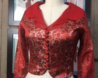 On sale 1950s red jacket 50s holiday blouse size medium Vintage cropped jacket brocade blouse