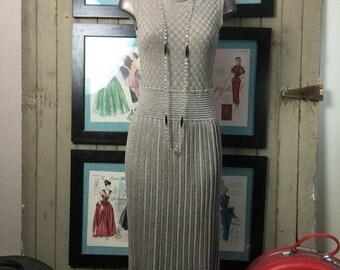 1990s dress Adrienne Vittadini flapper style dress size small medium gold dress lurex dress Vintage dress pleated dress