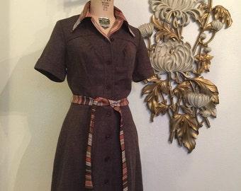 Fall sale 1970s dress waitress dress size medium brown dress plaid dress deadstock dress vintage dress belted dress