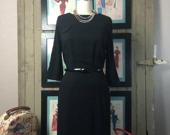 1950s dress classic black dress 50s dress size large vintage dress office dress Juliette originals