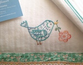 Flower Bird - Hand Embroidered Vintage Style Flour Sack Tea Towel by Cornflower Creations