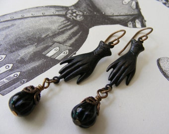 Victorian Goth Hand and Flower Earrings
