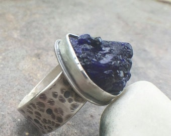 25% OFF - Raw Azurite Sterling Silver Bold Wide Band Ring US Size 8