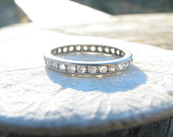 Art Deco Diamond Eternity Band Ring, Old European Cut Full Eternity Ring,  approx .58 ctw, Elegant Wedding Band or Stacking Ring