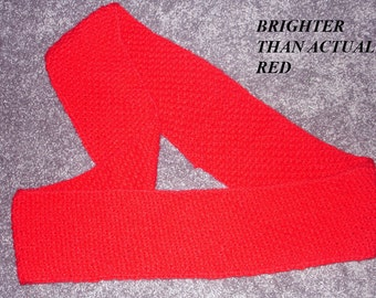 "New Handmade Horizontal Moss Stitch Infinity Scarf in True Red Jiffy - 6"" x 79"""