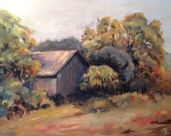 Oil landscape painting, original - Barn, San Martin