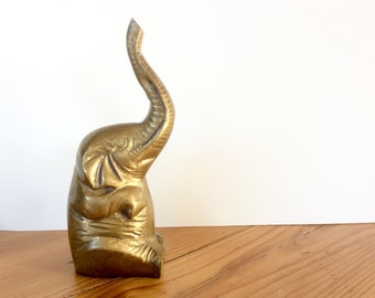 Vintage Brass Elephant Figurine. Lucky Brass Elephant. Brass Animals.
