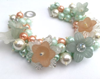 Pearl Bracelet in Mint and Peach, Flower Bracelet, Gift For Her, Chunky Jewelry, Cluster Bracelet, Vintage Theme, One of Kind Jewelry Floral