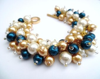 Ivory Gold and Teal, Pearl Wedding Bracelet, Pearl Cluster Bracelet, Bridesmaid Jewelry, Teal Bracelet, Beaded Bracelet, Bridesmaid Gift