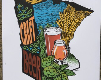 Enjoy Minnesota Craft Beer 6 color screenprint