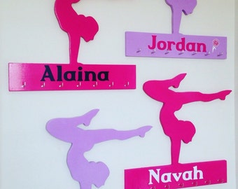 Wooden gymnastic sports medal holder personalized- choose your colours