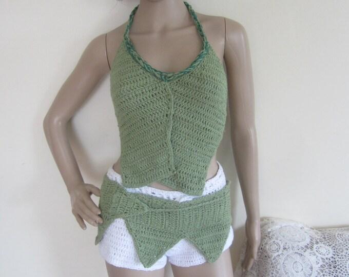 Crochet belt, hip belt, pixie belt, pixie skirt, belly dancing, tribal belt, elven clothing, festival clothing, *top sold separately*