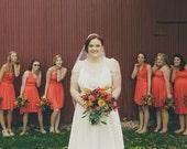 reserved Gianna Merola Wedding Tailored Bridesmaids Infinity Dress CUSTOM sizes  brown hunter orange gold emerald marsala wine dark red rust