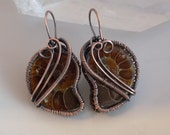 Ammonite Wire Wrapped Earrings Oxidized Copper Wire Wrapped Jewelry Handmade Sacred Geometry Spiral Extinct Marine Fossil Slice Earrings