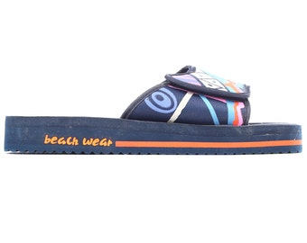 Men's Slide Soccer 80s Unisex Sandals Beach Wear Sport Slides Navy Blue Orange Slip On MULES Summer Beach Shoes Us Men 7.5, Uk 7, Eur 40