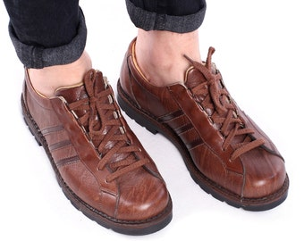 Leather SNEAKERS for Men 80s Brown Shoes Made in Europe Rustic Trainers Rugged Chunky Sole Retro Lace Up Size Us men 8.5 , Eur 42 , Uk 8