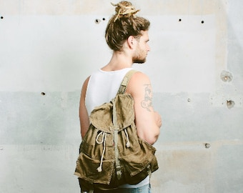 Canvas Army Rucksack Backpack 70s Vintage 1970s Khaki CAMPING Knapsack Leather Large Outdoors Hiking Traveler Packsack Boyfriend Gift