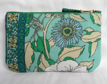 Vintage Purse, Scandanavian style Fabric, Seventies 1970's textile, Blue Green Aqua, for Phone, Cash, Cards or Make Up (b)