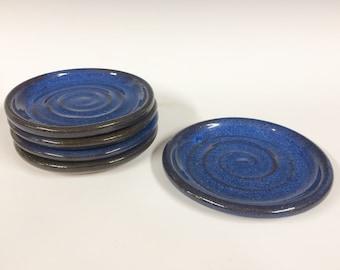 "6"" Blue plate, handmade, ready to ship"