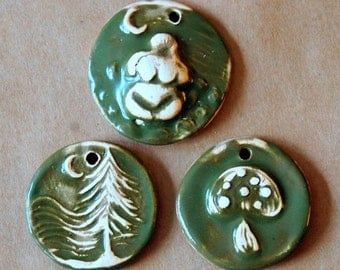 3 Handmade Ceramic Pendants - Evergreen Glaze - Woodland  Beads - Moon Goddess Pendant - Mushroom Pendant - Evergreen Tree Pendant