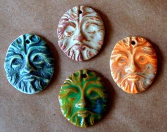 4 Handmade Ceramic Beads - Pendant Greenman Beads - Artisan Pendants Handmade in my Ceramic Studio