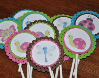 Bug Cupcake Toppers. Insect Cupcake Toppers. Bugs.  Cupcake Picks. Set of 12. Choose boy or girl
