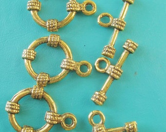 antiqued gold tone fob clasps toggles x 6