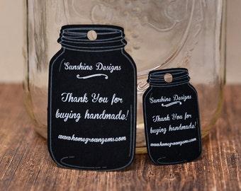 Black White Mason Jar Chalkboard Hang Price Tags - Product Tag - Clothing Tag - Packaging Display   DS0016