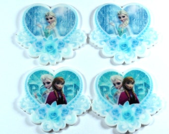 Set of 4 Princess Frozen Inspired Ana Elsa resin hair bow craft center planar resin