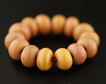 Peachy Keen - Handmade Lampwork Glass Bead Set - Pink and Yellow