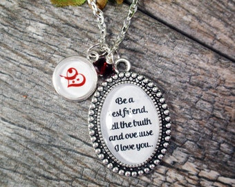 Medium Oval-Glass Bubble Pendant Necklace With 1 Tiny Bubble Initial & Crystal Dangle-Be A Best Friend Tell The Truth And Overuse I Love You