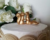 Gold Wedding Cake Topper Adorable Ceramic Squirrels in Love Anniversary Gift Gold Animals Home Decor Ceramic Vintage Design