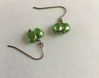 Apple Green Freshwater Pearl Drop Earrings
