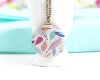 Boho Necklace - Feather Jewelry - Pastel Locket - Locket Necklace - Photo Locket - Pretty - Colorful - Locket Pendant - Brass Locket