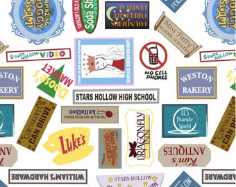 """Stars Hollow Signs Fabric, 56"""" wide quilting cotton- One Yard, Gilmore Girls Inspired"""