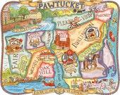 """Pawtucket Rhode Island Map Art Print 11""""x14"""""""